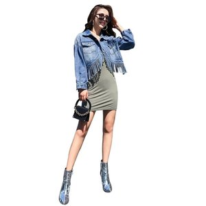 2020 Korean Women Denim Short Jacket Fashion Irregular Tassel Bust Clothes Ladies All-match Streetwear Crop Jean Coats Clothing