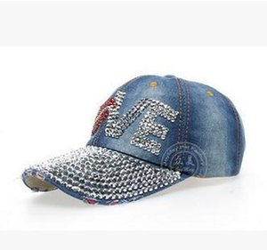 2020Cap Baseball Rhinestone Adjustable Hotfit Peaked Rhinestone Sun Full Lip Hat Hat Cowboy Cap Red Visor Snapback Love Crystal Top sqcCX