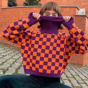 Harajuku Checkerboard Pull à col roulé Pull chaud et douillet Jumper Haut en tricot pour les femmes / 201019