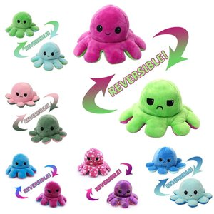 DHL Shipping Reversible Flip Octopus Smile Angry Face Plush Stuffed Toys Soft Animal Doll Children Kids Gifts Pressure Release Plush Dolls