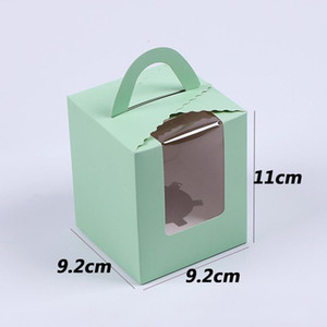 Single Cupcake Boxes With Clear Window Handle Portable Macaron Box Mousse Cake Snack Boxes Paper Package Box Birthday Party Supply CCA3013