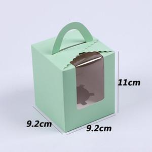 Одиночные коробки кекс с четкой ручкой Window Portable Macaron Box Mousse Cake закусочные коробки бумаги пакет коробки по случаю дня рождения Party Supply CCA3013