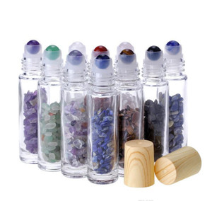essential oil diffuser 10ml clear glass roll on perfume bottles with crushed natural crystal quartz stone,crystal roller ball wood grain
