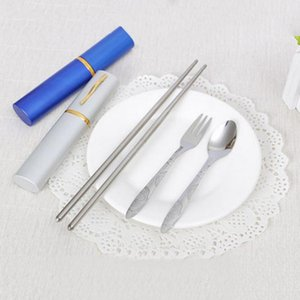 Wholesale- Portable Outdoor Stainless Steel Travel Dinner 3in1 Set Fork Spoon Chopstick