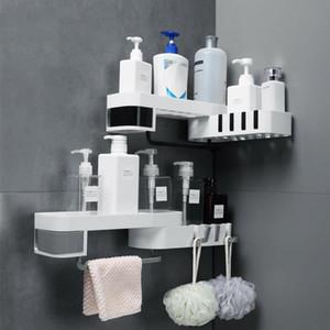Prateleira de chuveiro de canto criativo tripé rotativo sem costura casa montagem de parede de armazenamento multifuncional acessórios de banheiro conjuntos de cozinha