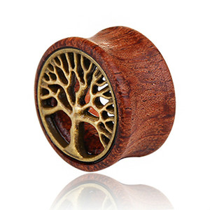 fashion tree of life wood Ear Gauges Flesh Tunnels Plugs Expander Stretcher Ear Piercing Jewelry for men women jewelry will and sandy new