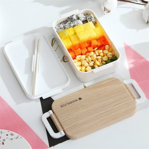 TUUTH Japanese Lunch Box Wooden Feeling Salad Bento Box Portable Microwave Food Container For School Office Camping T200902
