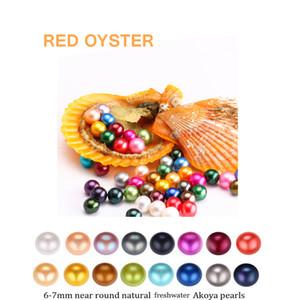 2020 DIY Yeni Akoya Yüksek Kalite Ucuz Aşk Deniz Suyu Inci Oyster 6-7mm Kırmızı Kabuk Inci Oyster Vakum Paketleme Ile Toptan A-0030
