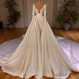 Luxury Long Sleeve Wedding Dresses with Detachable Train Lace Satin Bead Castle Bridal Gowns Ruffle Plus Size Robe De Mariage