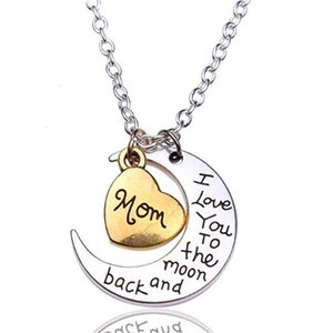 Moon English Necklace Pendant Heart For Family Alphabet Mom Dad Sun Daughter Sister Brother Grandma GranWDR1