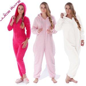Winter Warm Pijamas Mujeres Onesies Fluffy Fleece Sumpsuits Sleepwear Global Plus Size Hoods Sets Pajamas Onesie para Mujeres Adult Y200107