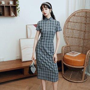 ybaZF 2020 тощий Улучшенная Летняя девушка этнический стиль плед платье платье новый Cheongsam элегантный National Cheongsam 8lYfQ
