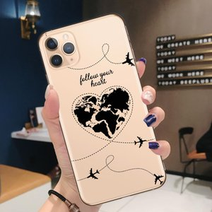 World Map Travel Just Go Soft TPU Phone Cases for iPhone 11 Pro XS Max X XR 7 8 Plus 6S plane Cover For iPhone 12 Pro Max Coque