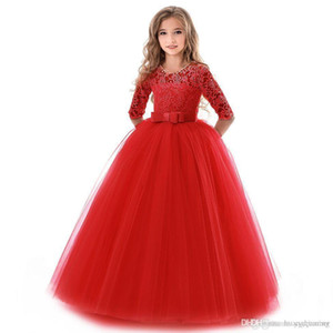 Girl New Teenage Princess Lace Solid Dress Kids Flower Embroidery Dresses For Girls Children Prom Party Wear Red Ball Gown