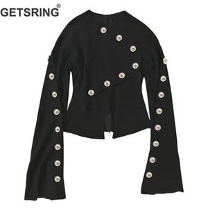GETSRING Женщины пальто с длинным рукавом Multi-Buttons женщин куртки Нерегулярные Тонкие Сыпучие Верхняя одежда женщин Топы черные куртки, ветровки 2020