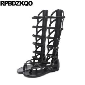Plat long genou romaine haut Sandales peep toes été Gladiator Brown japonais Chaussures femmes hautes bottes noires Cut Out Mid