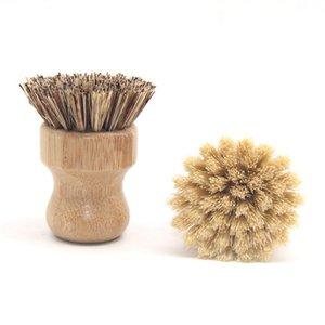 Natürliche Bambusgeschirrbürste Rundgriff Haushalts Pot Dish Küche Palm Borste Reinigungsbürsten HHA1658