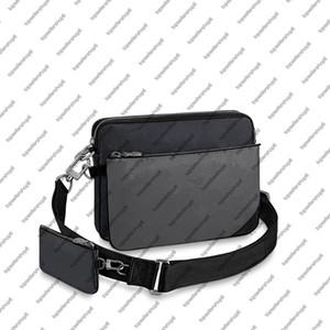 M69443 TRIO رسول الرجال الكسوف 3 مجموعات قماش مصمم الأصلي العجل حزام من الجلد تقليم عبر الجسم حقيبة الكتف محفظة