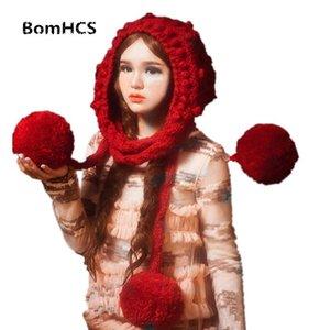 Belle orecchie BomHCS europee Big pompon sciarpa cappello a mano a maglia Beanie Foulards (senza guanti)