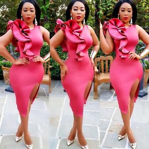 Africa Clothing Women Dress Hot Pink Right Side Ruffles Back Zipper Details Bodycon Dress Knee-Length Elegant O-Neck Night Club1