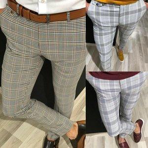 남성 바지 남성 캐주얼 격자 무늬 패션 트렌드 옴므 스키니 비즈니스 슬림 맞는 공식 파티 슬랙 Long1