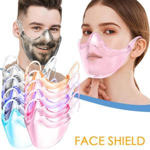 Masque de visage transparent PC Anti-saliva Splash Splash Shand Shand-Sharibe Masque de protection en plein air réutilisable Masques de langage de la lèvre transparente OWC3361