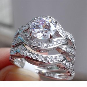 USpecial Luxury 10KT white gold filled Paved CZ Diamond gemstone rings set 2-in-1 jewelry Eternal Wedding bride Band RING FINGER for Women