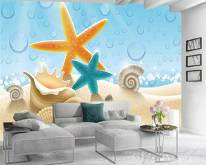 3d Seascape Wallpaper Home Decor 3d Wallpaper Beautiful Starfish Shells and Conch Romantic Landscape 3d Mural Wallpaper