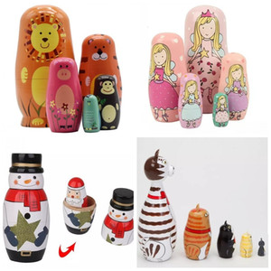 5pcs set Handmade Painting Craft Snowman Santa Claus Wooden Animal Paint Nesting Doll Matryoshka Russian Toy Home Decoration Christmas Gifts
