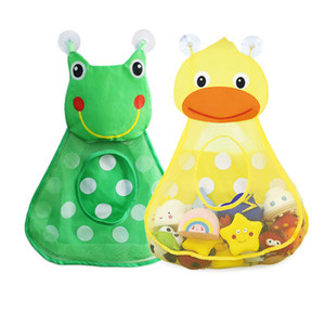 Baby Shower Bath Toys Mesh Bag Cartoon Duck Frog Kids Toys Storage Mesh with Strong Suction Cup Toy Bag Net Bathroom Organizer UPS