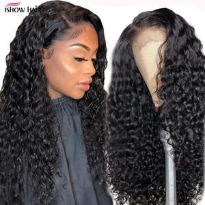Волшебное замыкание волны Ishow Глубокое вьющиеся кружева передний парик бразильский волосы Precucked отбеленные узлы парики Remy