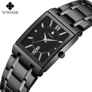 Wwoor New Women Fashion Full Black Watch Ladies Square Square Relojes de pulsera de cuarzo Top Marca de lujo Pulsera Mirando Zegarek Damski Y1220