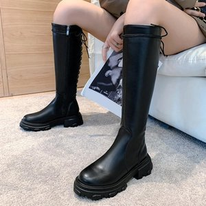 Lucyever Ladies Platform Winter Knee High Boots Pu Leather Square Heels Long Boots Women Fashion Cross Strap Waterproof Shoes1