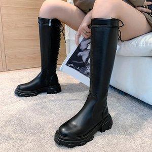 Lucyever Damen Plattform Winter Knie Hohe Stiefel PU Leder Square Heels Lange Stiefel Frauen Mode Kreuz Strap Wasserdichte Schuhe1