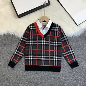 2020 고급 클래식 한 체크 무늬 디자인 소년 가짜 두 조각 스웨터 따뜻한 뜨개질면 직물 표면 무료 배달