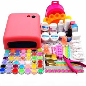 Wholesale- 36W Pink UV Lamp Acrylic UV Gel Set Acrylic Powder Liquid Nail Glitter UV Primer Nail Crystal Brush Buffer Manicure Tools Kit