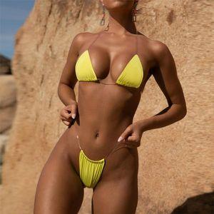 Sexy Women Clear Strap Halter Fluorescent Triangle Padded Bra High Waist Thong Bikini Sets Bathing Sunbathing Beach Swimsuits