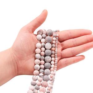 1trand lot 4 6 8 10 12mm Stone naturel Polonais terne Mat Pink Zebra Perles de Jaspers pour bricolage Bracelet Bijoux Fournitures H Jllzes