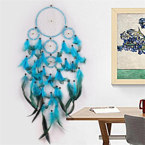 Natural Feather Dream Net Catcher Handmade Make Wind Chime Blue Wall Hanging Home Furnishing Decorate Ornament Delicate High Quality 11 5jy
