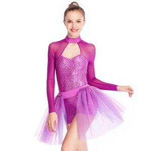 Escenario desgaste 2 piezas trajes de jazz lentejuelas lentejuelas leotardo falda de escoge atrafit lyrical contemporáneo danza vestidos