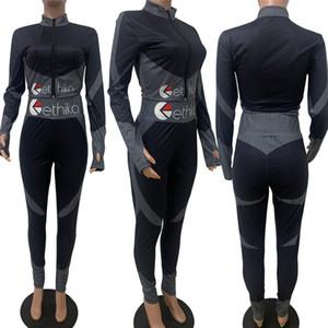 Le donne Body Tuta Designer Lettere Zipper cappotto del rivestimento Collant Leggings Pant Outfit Spiaggia Piscina vestito di yoga due pezzi vestiti E111306