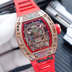 أفضل طبعة RM-052 هيكل عظمي الطلب اللون الماس حالة اليابان miyota الحركة التلقائية رجل ووتش الأسود المطاط حزام مصمم الساعات العلامة التجارية