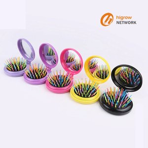 Portable pocket comb folding rainbow needle plastic comb round small curved tooth folding mirror combs brush Portable pocket comb