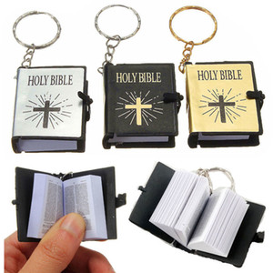 Cute Mini English HOLY BIBLE Keychains Religious Christian Cross Keyrings Holder Car Key Chains Rings Charm Bag Gifts