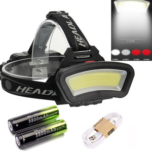 80000LM Floodlight COB LED Headlamps LED Headlight Camping Head Torch 3Modes Head Lantern 2*18650 Rechargeable Frontal HeadLamp