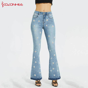 Embroidery Low Waist Elastic Flare Jeans Women Retro Style Bell Bottom Skinny Jeans Female Blue Wide Leg Denim Pants Plus Size 200930