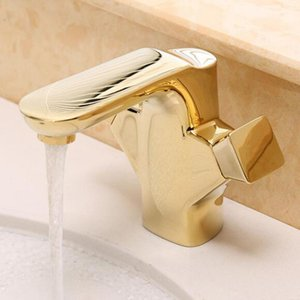 Vidric luxury basin tapsBathroom faucet full copper basin gold-plated antique faucet double handle single hole hot cold