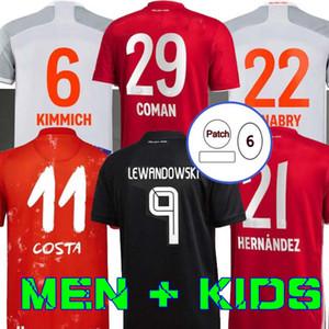 20 21 Sane Lewandowski Coman Gnabry Alaba Davies Muller Kimmich futebol Jersey HRFC 2020 2021 Munique Camisa de Futebol Homens Crianças Bayern Uniforme