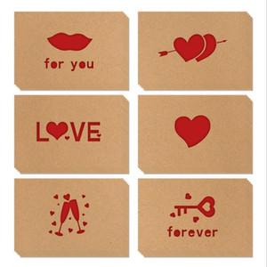 Grußkarten Kraftpapier Liebe Grußkarte Valentinstag Hohlkarten Danksagung Geburtstag Hochzeit Segenkarten 6 teile / satz DDC4884