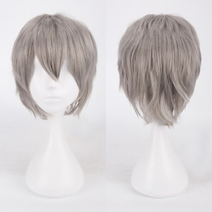 Men Boy Short Straight Cosplay Men Party Black 30Cm Heat Resistant Synthetic High Temperature Wire Hair Wigs